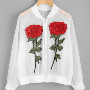 Jackets & Blazers - See-Through Embroidered Appliques Ribbed Trim Jack